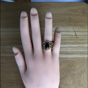 14k Gold Filigree Black Onyx Ring